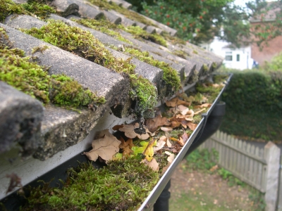 Blocked tile roof gutters