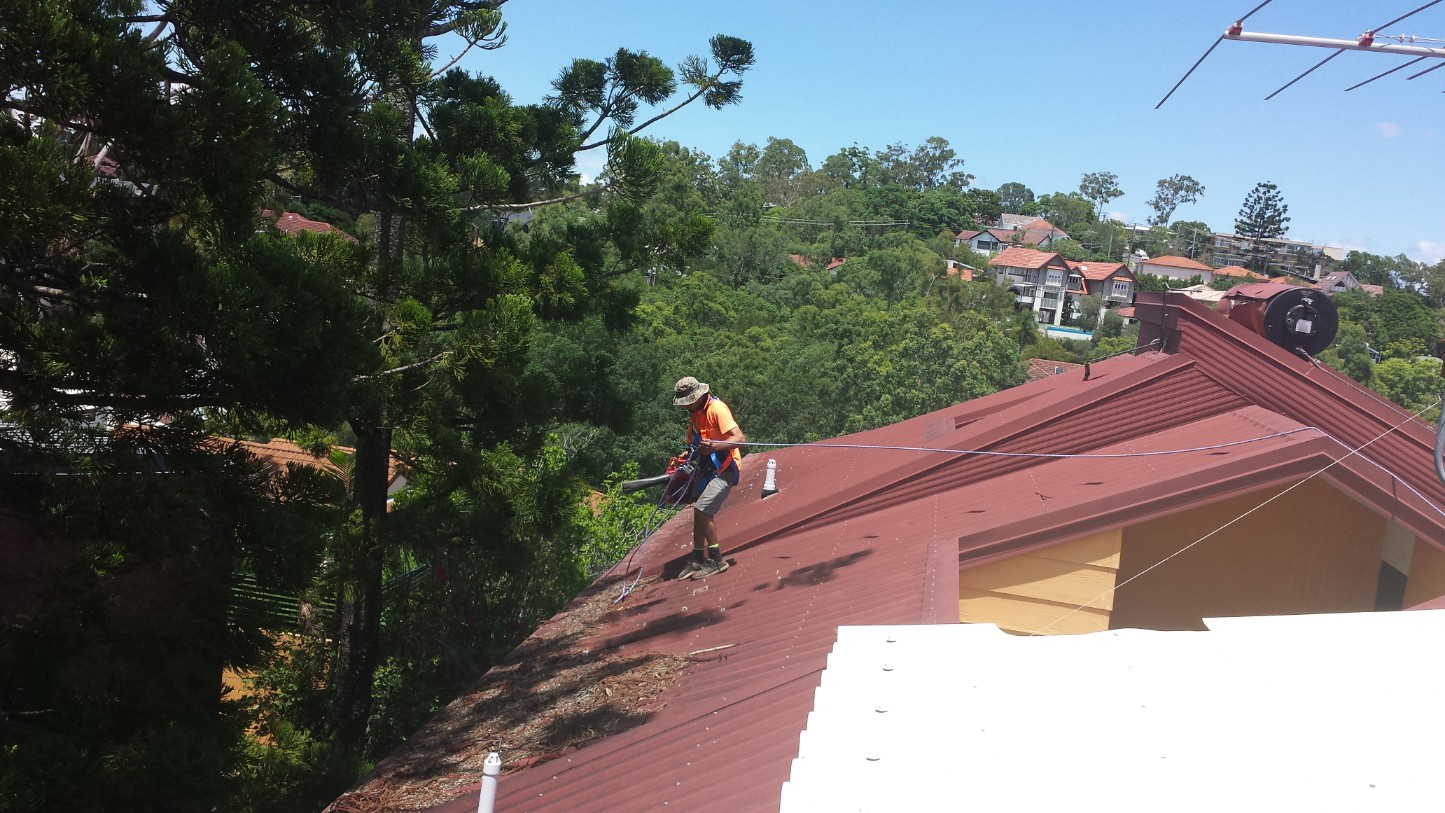 Cleaning blocked gutters and debris off a roof