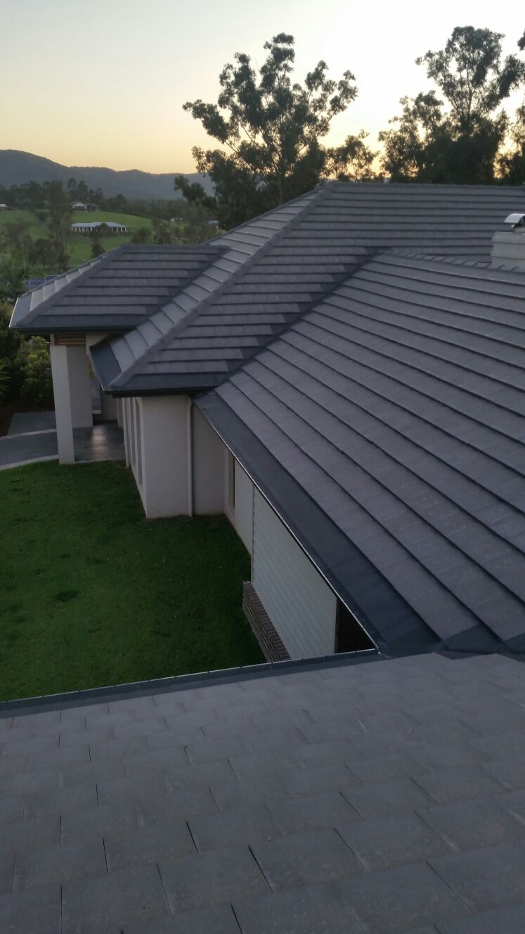 Gutter mesh installed on flat slate roof