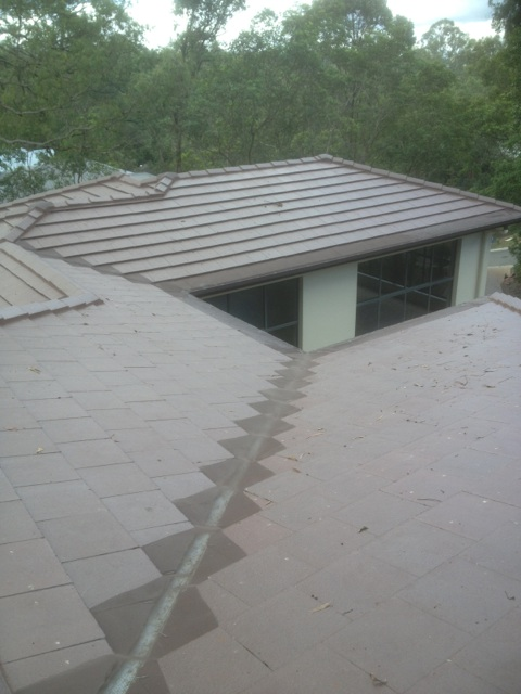 valley gutter guard on slate tile roof